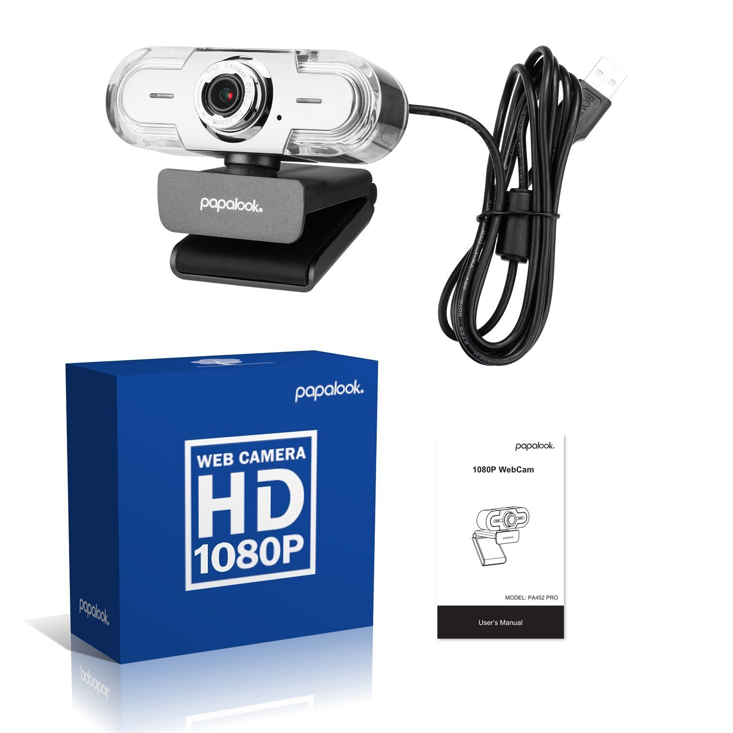 PAPALOOK 1080P HD Webcam, USB PC Computer Camera PA452 PRO Web Camera, Built-in Mic for Video Skype YouTube Compatible with Windows 7/8/10 by papalook (Image #7)