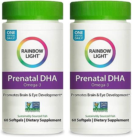 Rainbow Light Prenatal DHA Smart Essential Omega-3 Fatty Acids (2 Packs of 60 Softgels) - Support The Pregancy Health of The Mother & Baby. Brain & Eye Depelopment - Gluten Free