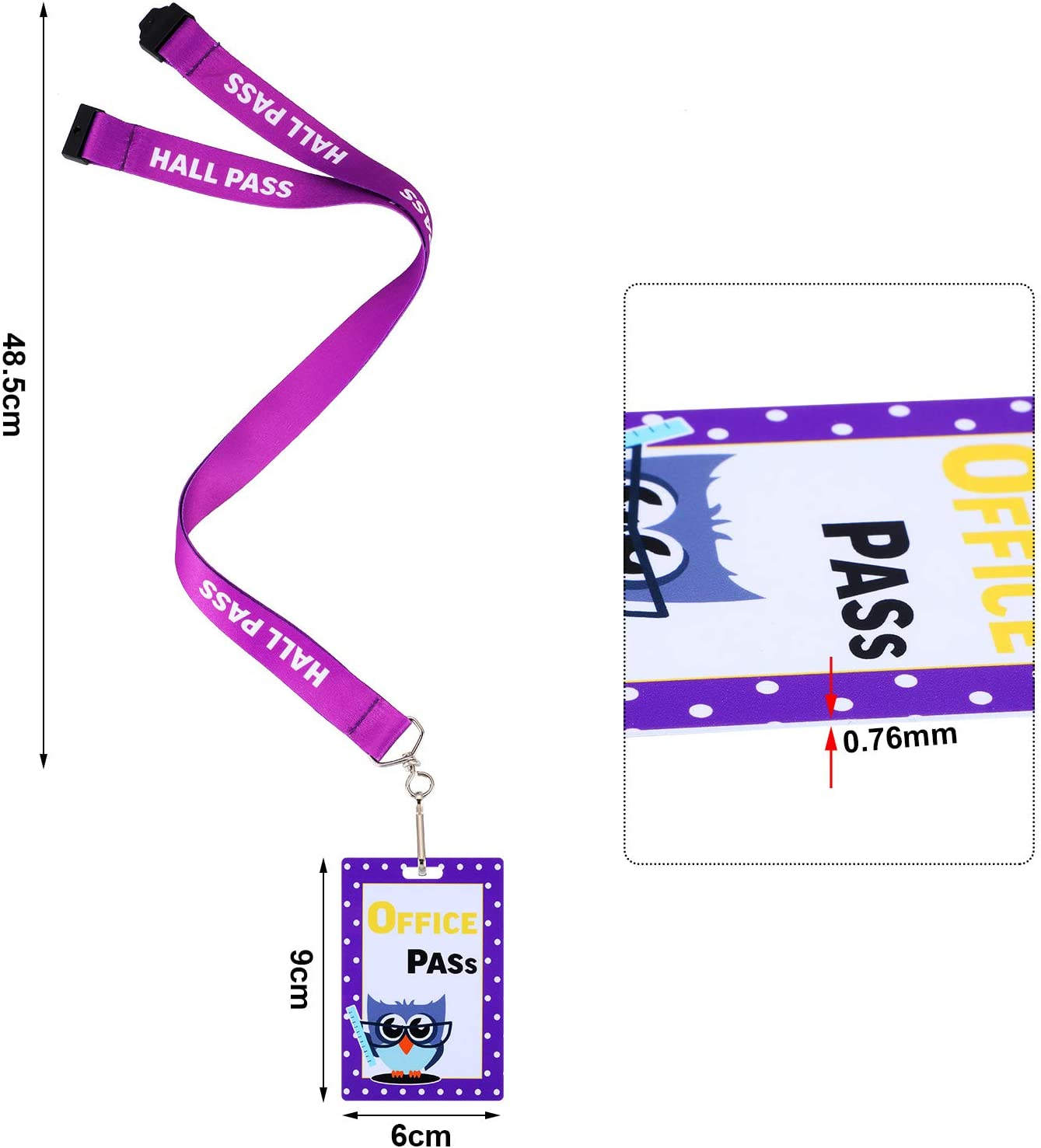 Classroom Supplies Library Office 12 Pieces Hall Pass Lanyards Set Owl School Passes Colorful Office Pass for Hall School Nurse