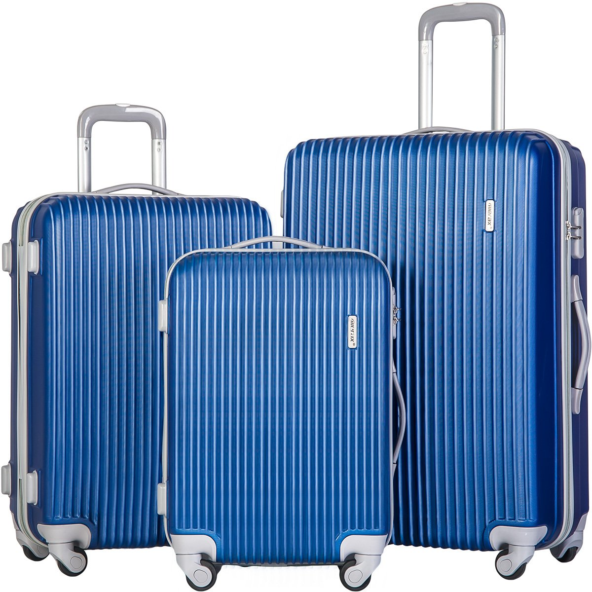 Merax 3 Piece Luggage Set Suitcase Spinner Hardshell Lightweight (Lake Blue.) by Merax