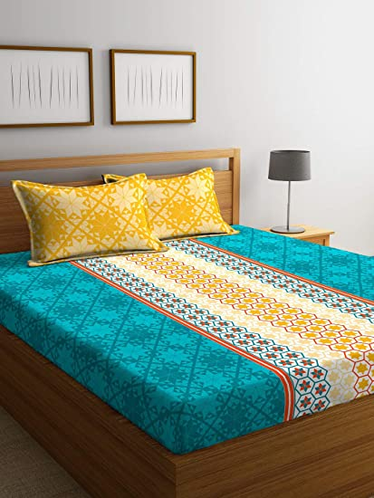 Portico New York Sparkle Printed Cotton 144 TC Queen Double Bedsheet with 2 Pillow Cover (Multicolour, 224x254cm)