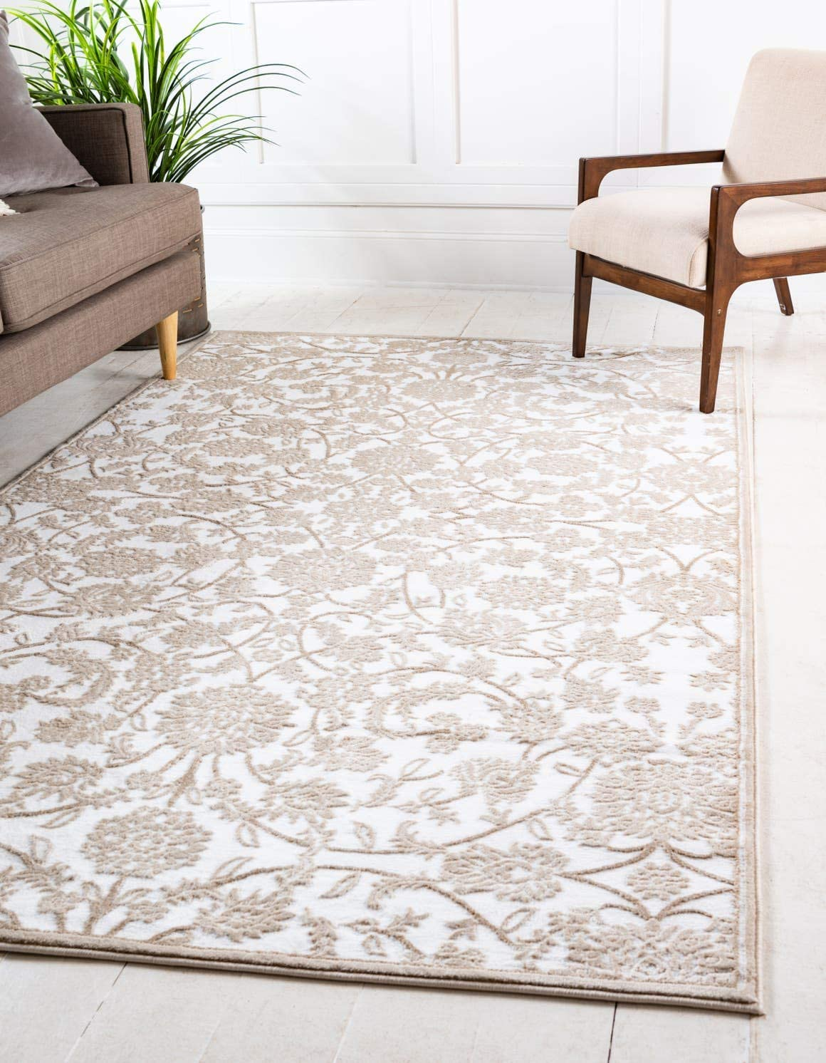Unique Loom Rushmore Collection Traditional White Tone-on-Tone Snow White Area Rug 10 0 x 13 0