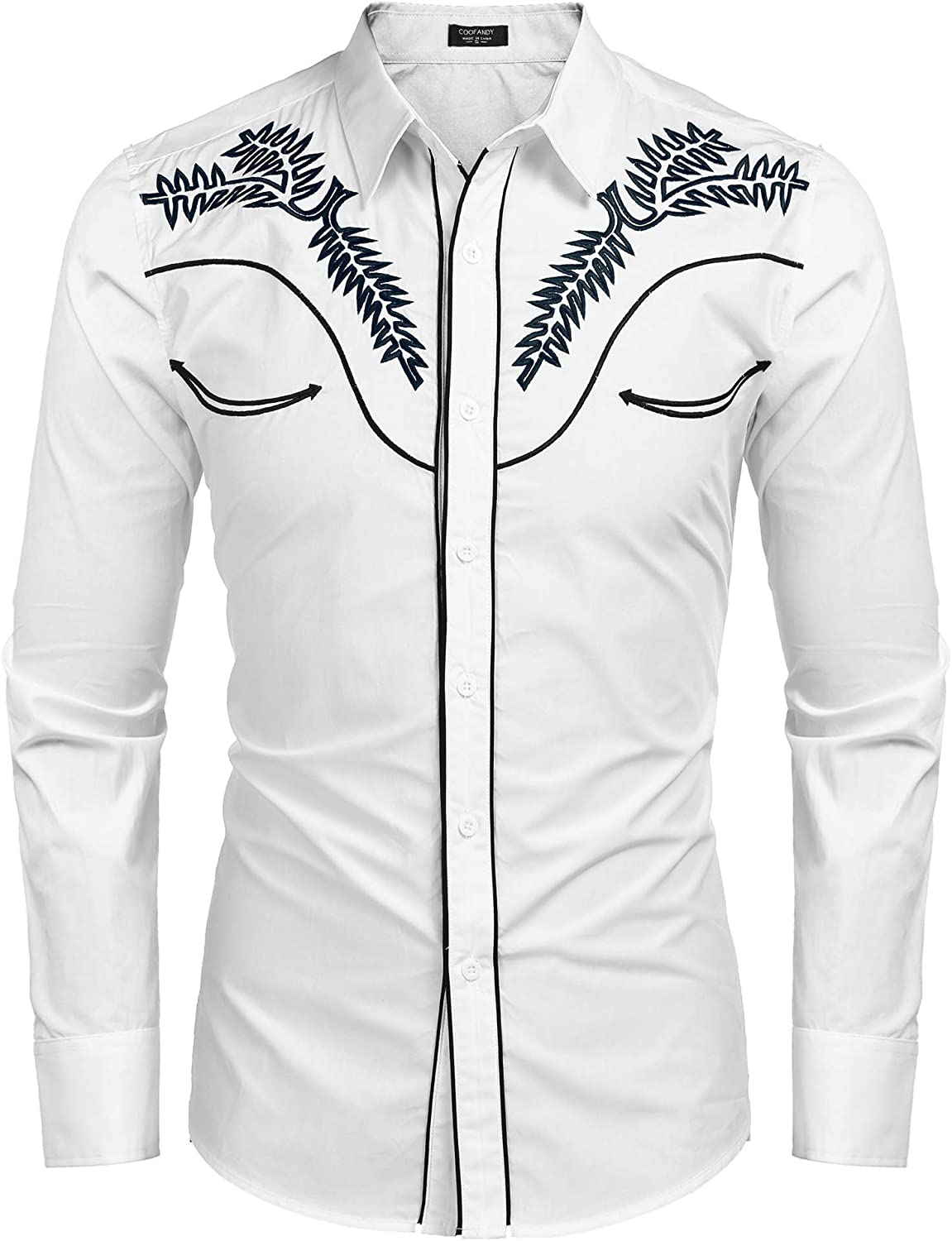 COOFANDY Mens Western Shirts Long Sleeve Slim Fit Embroideres Cowboy Casual Button Down Shirt