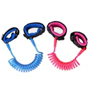 [2 Pack] Anti Lost Wrist Link, Zooawa Child Outdoor Safety Hook and Loop Wristband Kid Leash Child Safety Harness for Kids and Toddlers, 1.5M Pink + 1.8M Blue