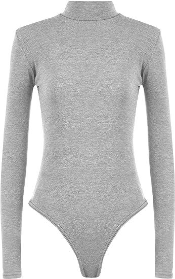 372dd1316f4 WearAll Women s Plus Size Turtle Bodysuit Top - Light Grey - US 12-14 (