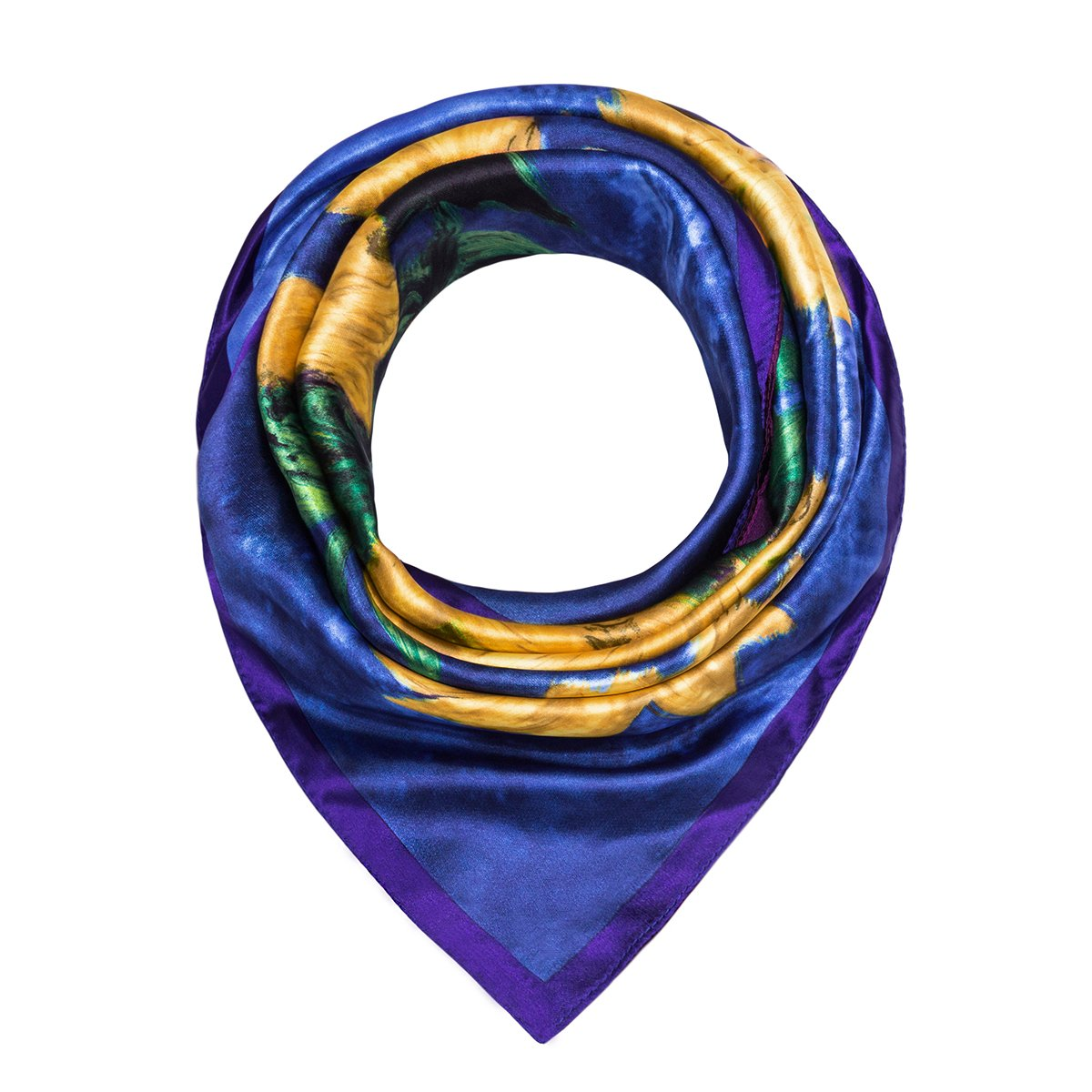 Flowomen Women\'s Silk Scarf colorful Square Large Neckerchief Daily Luxury Fashion Wrap (Dark Blue)