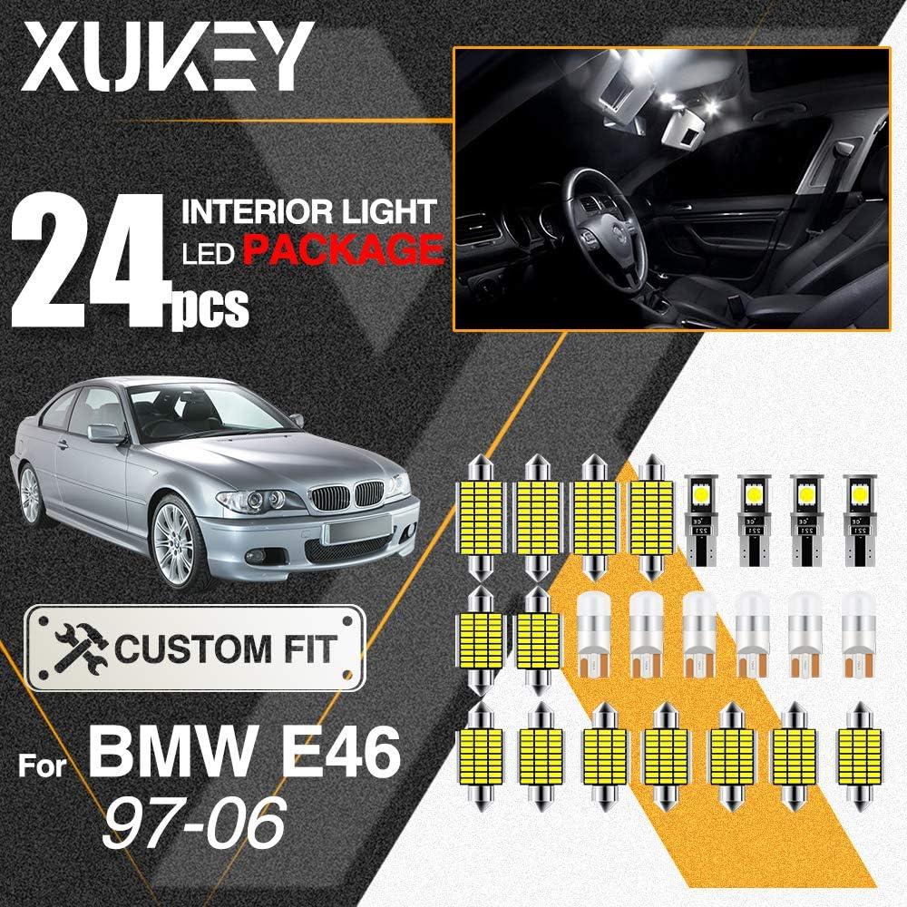Xukey 24pcs For E46 Sedan M3 1997 1998 1999 2000 2001 2002 2003 2004 2005 2006 Auto Interior Map Cabin LED Light Kit License Plate Festoon Dome Reading Globes 6000K