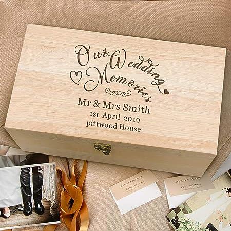 Edsg Personalised Wedding Memory Boxes Keepsake Engraved Oak Wood Box For Newlywed Bride Groom Bridesmaid Groomsman Best Man Wedding Gift For Couples Wedding Memories Amazon Co Uk Kitchen Home