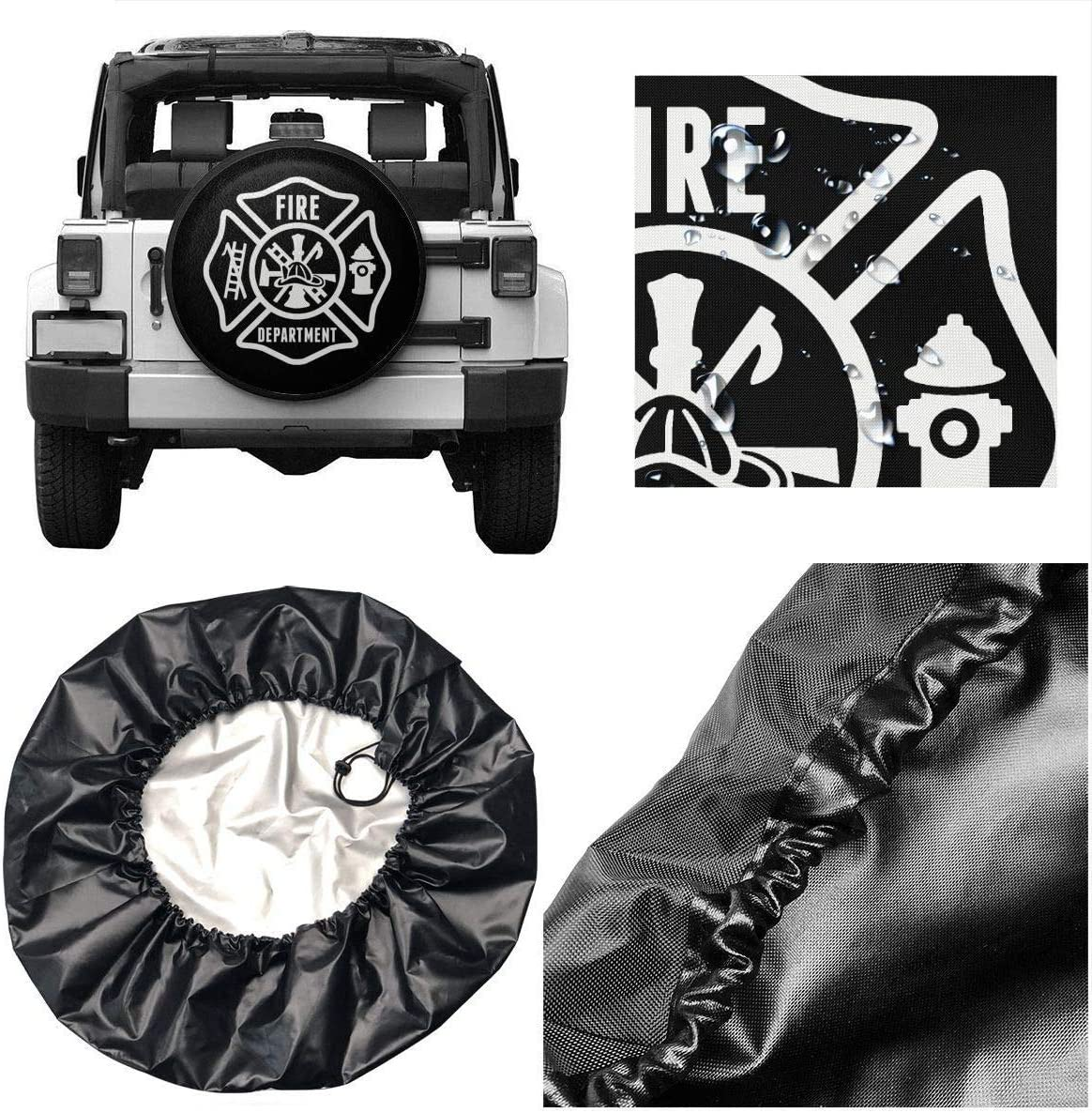 CXHKJ Fire Department Spare Wheel Tire Cover Funny Waterproof Tire Protectors Novelty