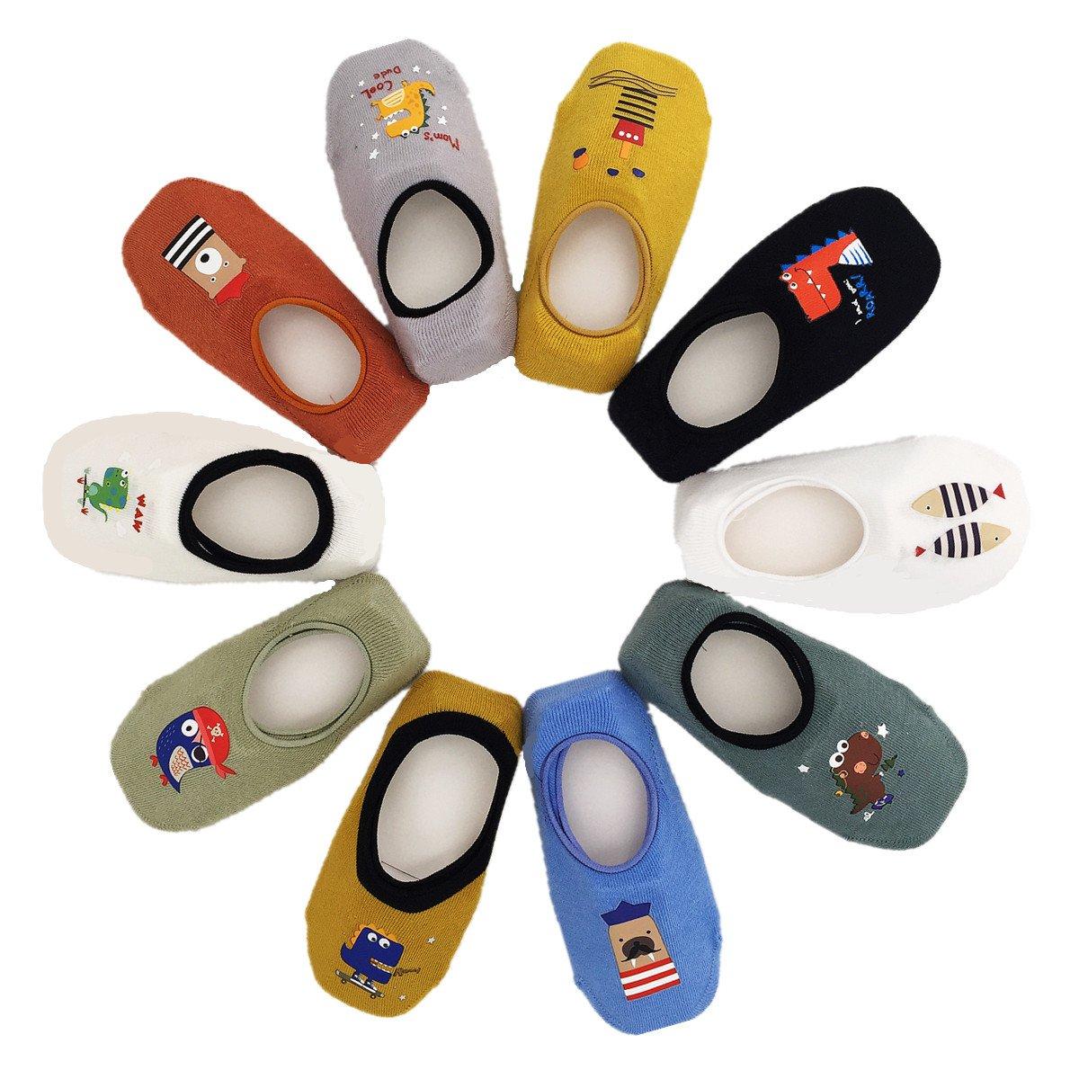 Toddler Non Skid No Show Socks - Low Cut Anti Slip Grip Slippers for Baby Kids Boys Girls 10 Pairs (1-2T, Dinosaur)