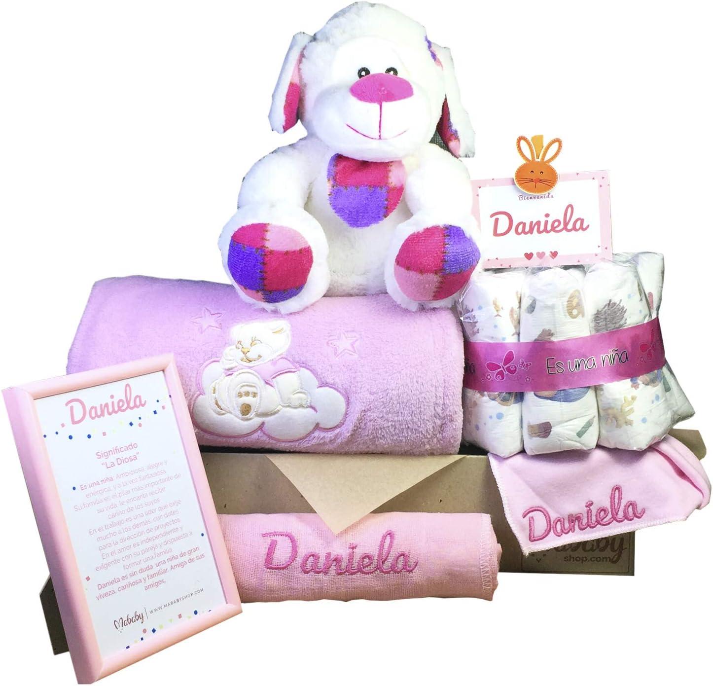MabyBox Teddy Bear | Canastilla Bebé | Regalo Bebé Personalizado | Canastilla Regalo Recién nacido | Regalo Babyshower | Cesta Bebé Personalizada (Rosa)