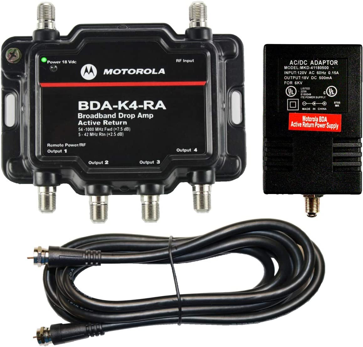 Motorola Amplificador de señal 4 Puertos Cable módem TV HDTV Amplificador con Retorno Activo Cable módem Boost: Amazon.es: Electrónica