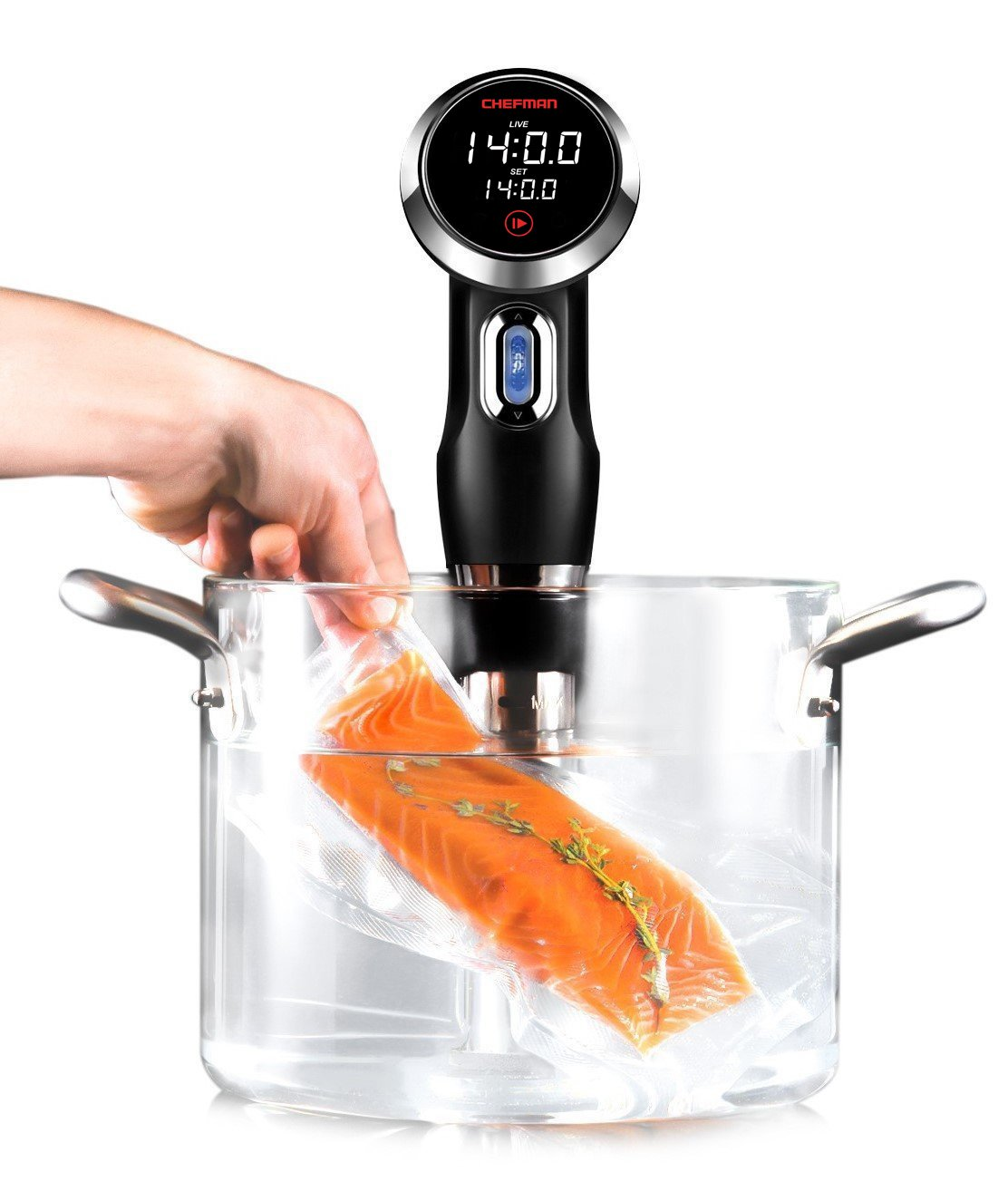 Chefman Sous Vide Immersion Circulator w/Precise Temperature Programmable Digital Touch Screen Display and Easy to Use Controls Black