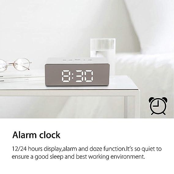 Patasen Reloj con Alarma LED Digital Reloj con batería Reloj con Temperatura de la Noche Luces para Dormitorio Sala de Estar, Oficina, Viajes - con ...
