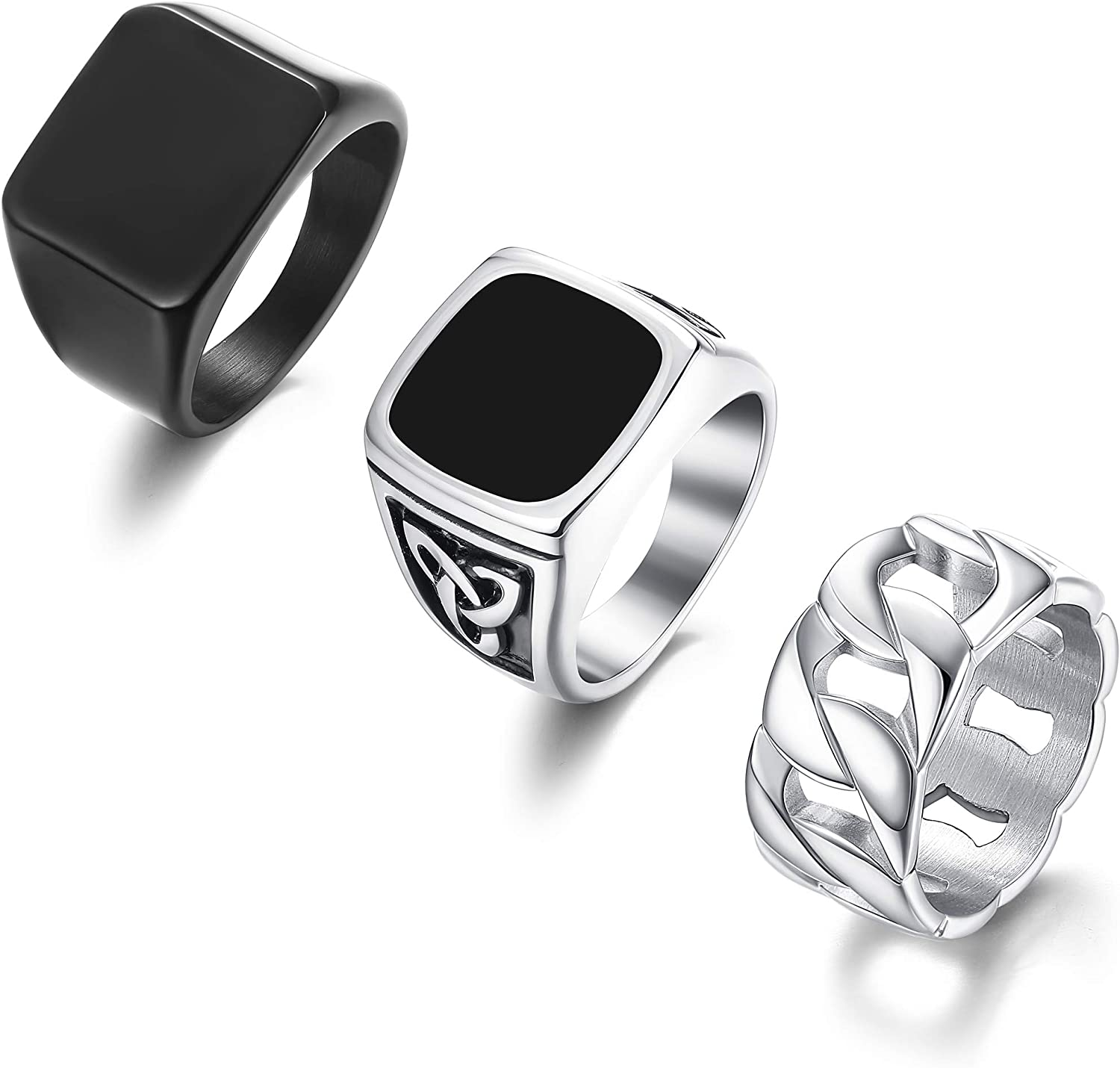 Max Popular standard 84% OFF LOYALLOOK 3 PCS Stainless Rings Pinky Signet Steel