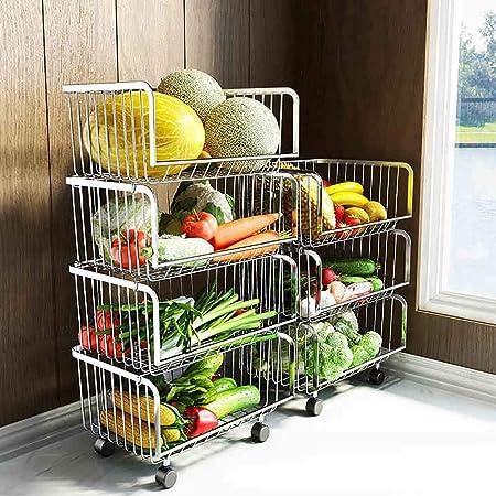 3 Capas Y 2 Capas Opcionales FTM/® Cesta De Almacenamiento De Frutas Y Verduras Tama/ño : 2-Tier 2 Capas Carro De Almacenamiento De Acero Inoxidable para La Cocina