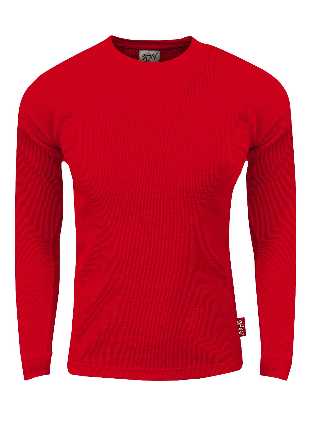 TC10_S Thermal Long Sleeve Crewneck Waffle Shirt Red S by Fitscloth