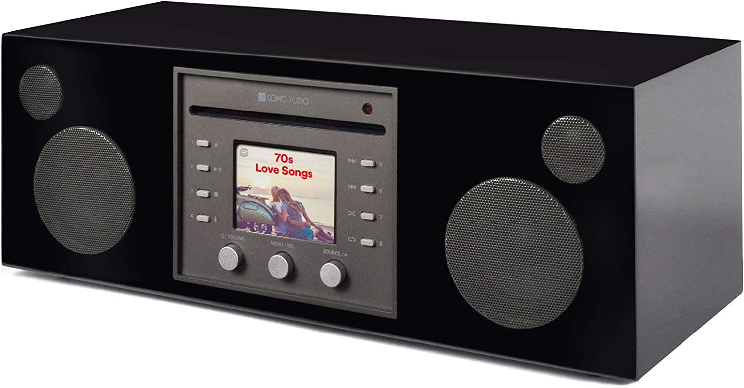 Como Audio: Musica - Wireless Music System with CD Player, Internet Radio, Spotify Connect, Wi-Fi, FM, Bluetooth and One Touch Streaming - Piano Black