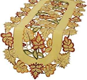 """Xia Home Fashions Bountiful Leaf Embroidered Cutwork Fall Table Runner, 15"""" by 108"""""""