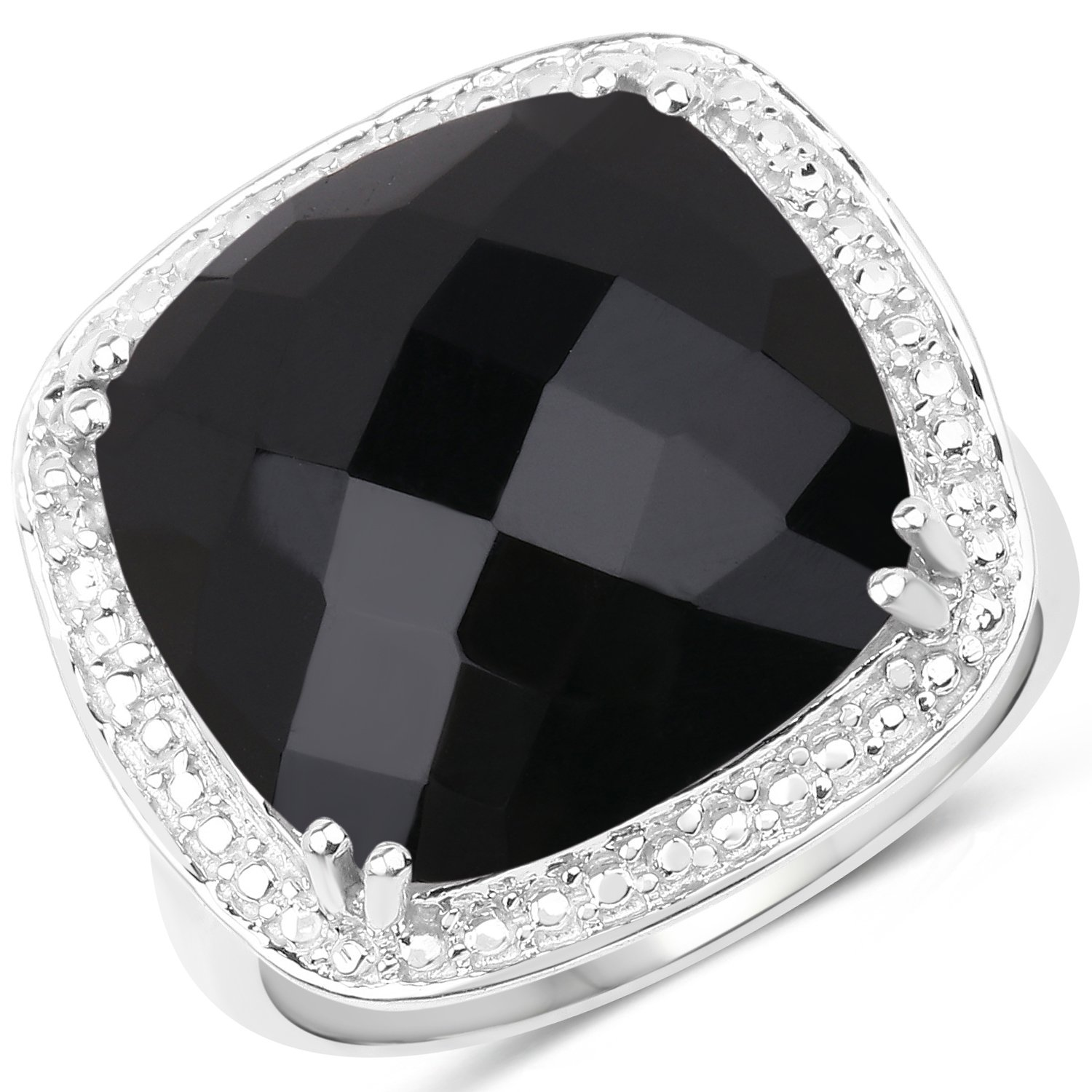 9.77 Carat Genuine Black Onyx .925 Sterling Silver Ring Huang and Co. HDQJ01129-7