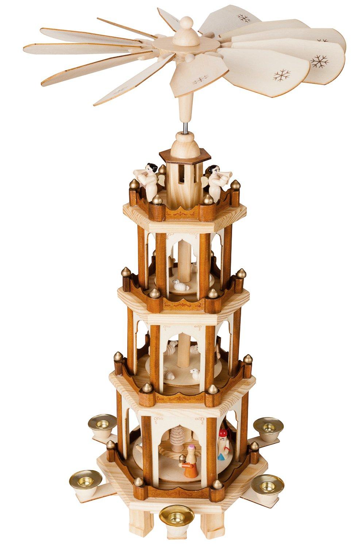 BRUBAKER Weihnachtspyramide aus aus aus Holz - 4 Etagen - NEU - 60 cm Höhe - handbemalte Figuren  13c558