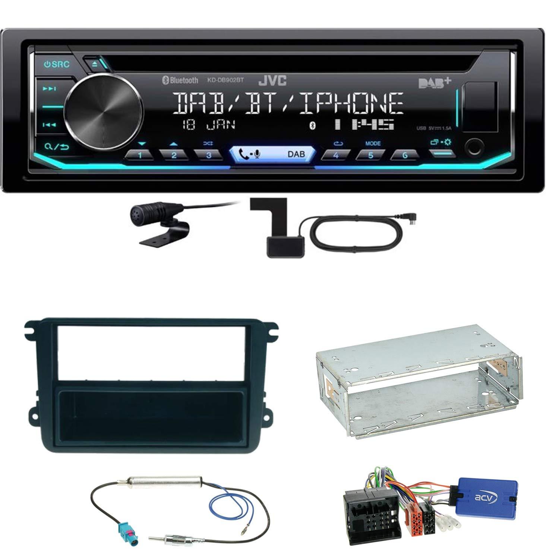 JVC KD-DB902BT Digitalradio Bluetooth Autoradio CD USB AUX MP3 DAB Einbauset f/ür Seat Leon Alhambra Altea XL