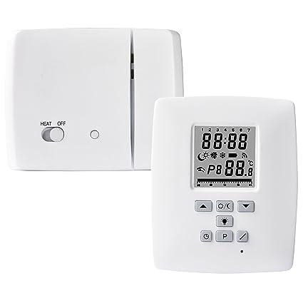 Electraline 59218 - Termostato digital inalámbrico con radiofrecuencia 868 MHz, color blanco