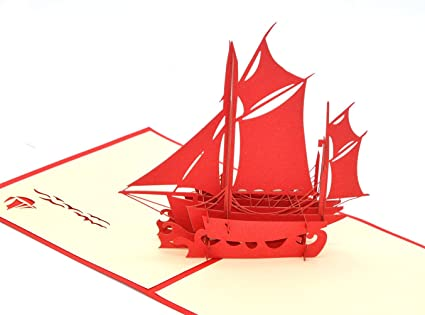Medigy 3D Pop Up Greeting Cards Business Blank For Most Occastions Sailing Boat