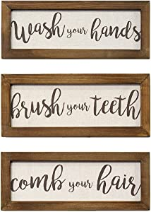"Stratton Home Décor Stratton Home Decor Set of 3 Printed Linen Bathroom Rules Wall Art, 12.25"" W X 0.50"" D X 4.75"" H Each, Brown, 3 Count"