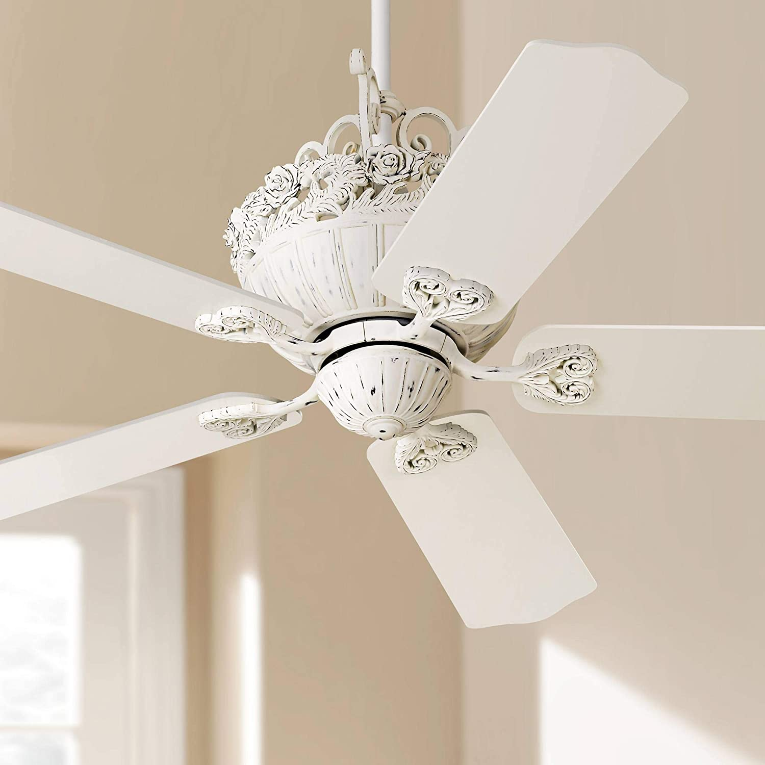 52 Casa Shabby Chic Ceiling Fan Antique Floral Scroll Rubbed White for Living Room Kitchen Bedroom Family Dining – Casa Vieja