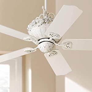 "52"" Casa Chic Ceiling Fan Antique Floral Scroll Rubbed White for Living Room Kitchen Bedroom Family Dining"