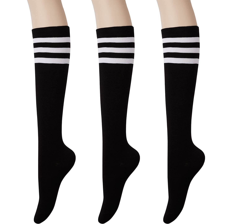 3b21f5831 KONY Womens Cotton Knee High Socks - Casual Solid   Triple Stripe Colors  Fashion Socks 3 Pairs (Womens Shoe Size 5-10) (Black Stripe - 3 Pairs) at  Amazon ...