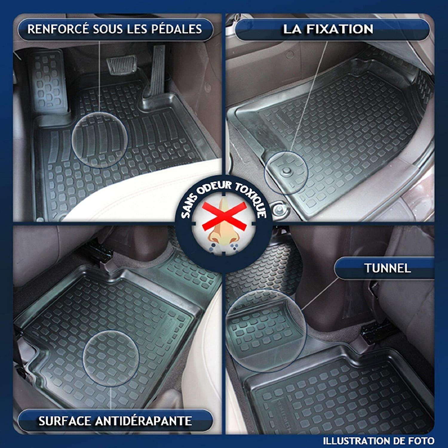 J/&J Automotive Alfombrillas de goma 3D exclusivas para Fiat Panda II 2003-2012 4 unidades