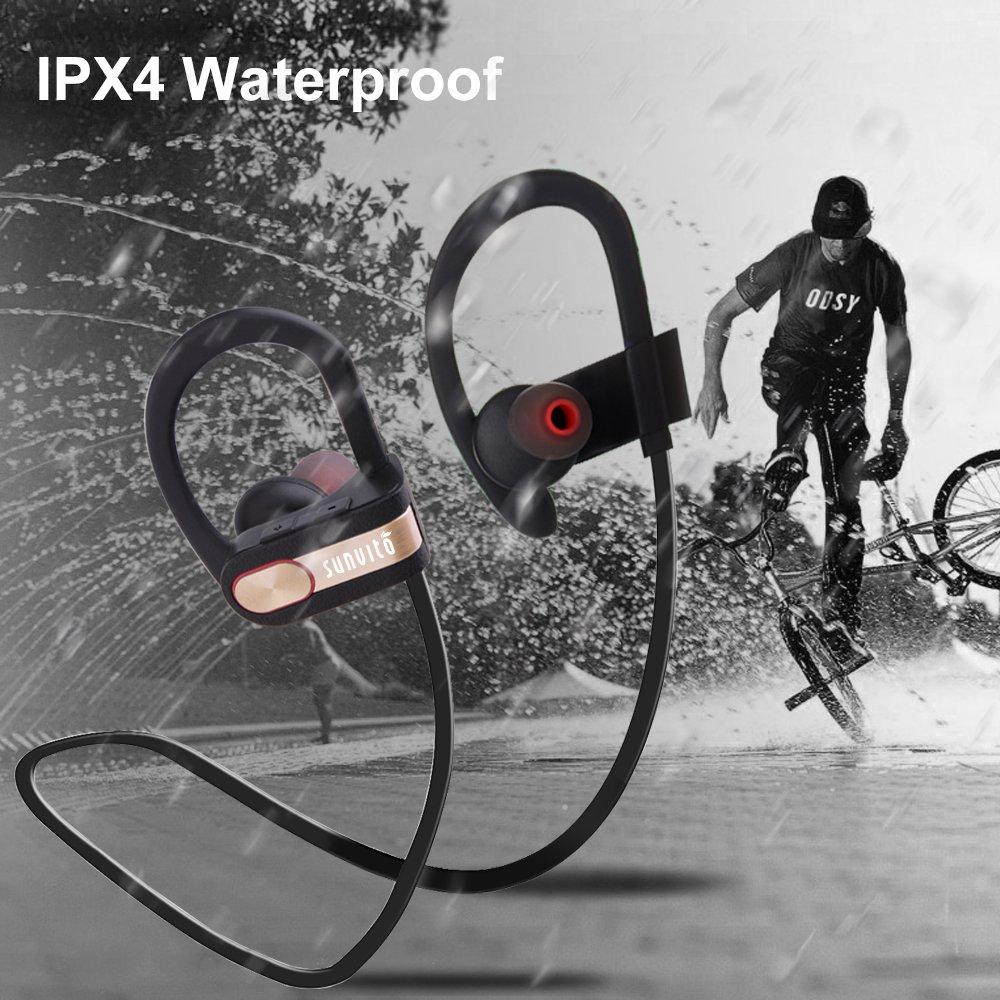 Sunvito auricolari Wireless Bluetooth,impermeabili, auricolari In-ear wireless per sport, cuffie stereo con microfono, tecnologia di cancellazione del rumore, perfette per correre, custodia inclusa