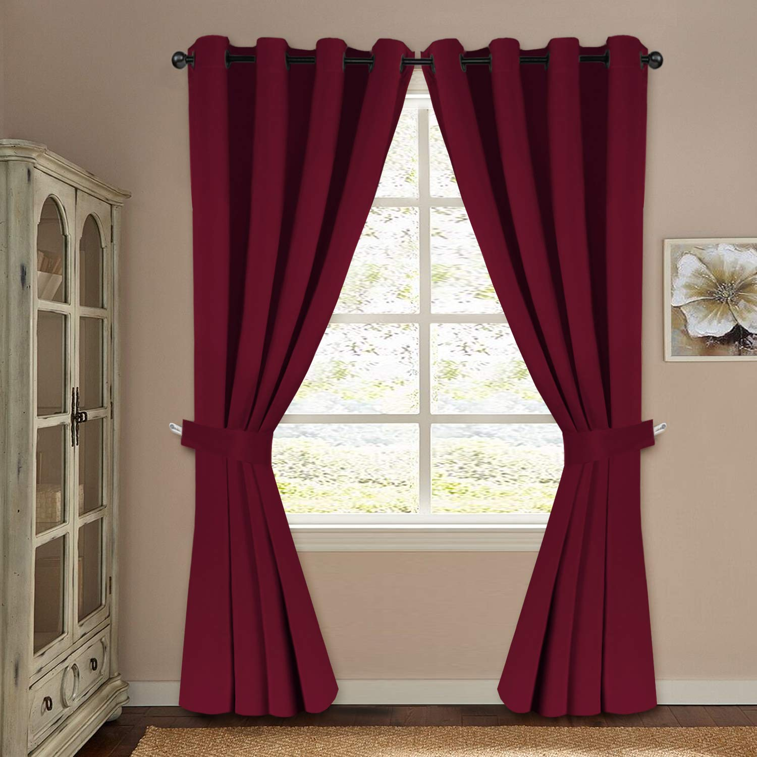 H.VERSAILTEX Blackout Curtains for Bedroom Thermal Insulated Solid Grommet Panels for Living Room 2 Panels of 52'' x 96'', 2 Valances of 52'' x 18'' for Free, Burgundy