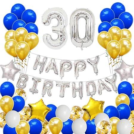 Toyvian 71Pcs Globos de cumpleaños con 30 años de antigüedad ...
