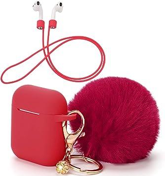 OOTSR Funda Protectora con Lindo Llavero Pompom Ball, Compatible con Apple AirPods Estuche de Carga, Cubierta Protectora de Silicona y Correa Anti-perdida para Apple AirPods como Regalos(Rojo): Amazon.es: Electrónica