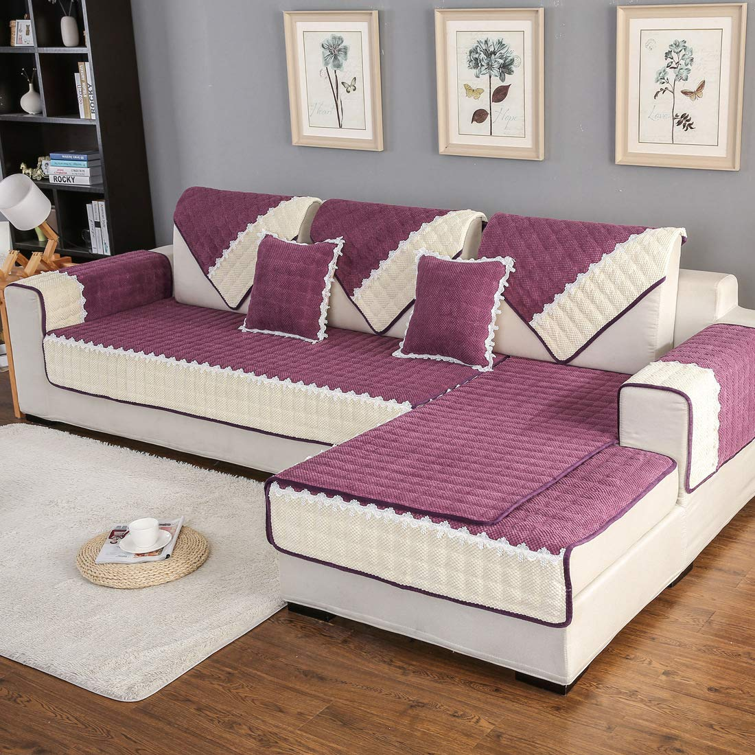 Royhom Corduroy Sofa Protector Sofa Slipcover Keeps Furniture Safe from Kids Dogs Pets   Backrest and Armrest Sold Separately   Purple 43'' x 94''