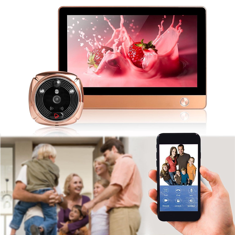 AUTOOL Smart WiFi Video Tü rspion Tü rspion Montion Detction Smart Door Camera Viewers mit Zweiwege-Tü rglocken 24h Echtzeit-Sicherheits-Ü berwachung Smart Home Security System Viewer, grau