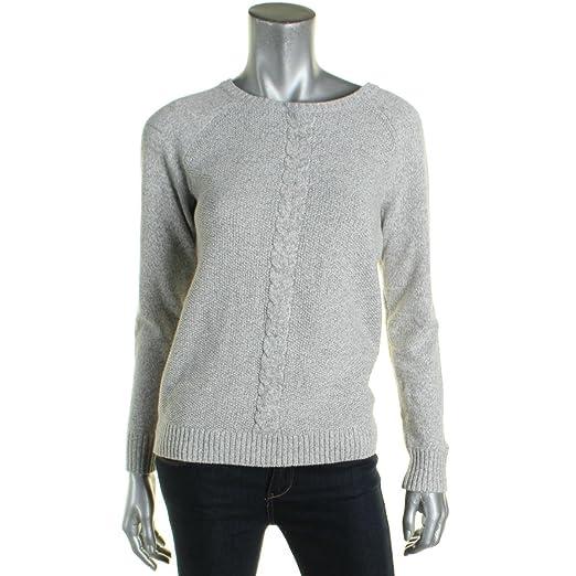 Karen Scott Womens Cable Knit Heathered Crewneck Sweater Gray Xl At