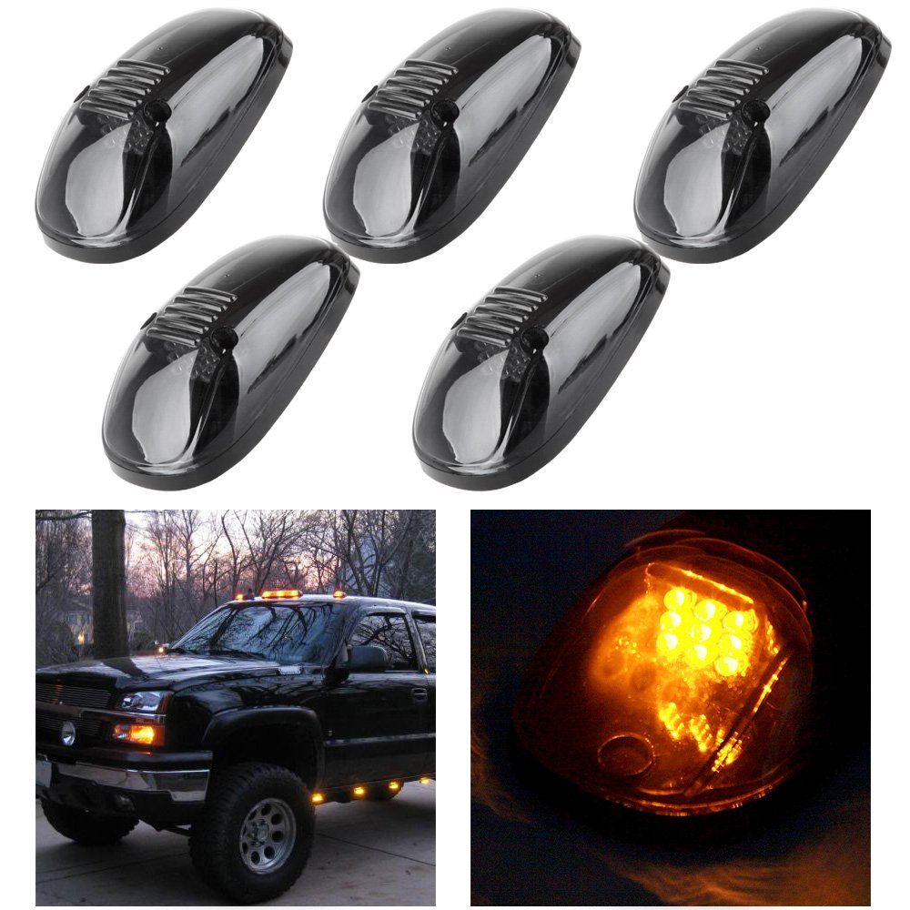 CCIYU 5 Pack Smoke Amber LED Cab Roof Marker Clearance Light Lamp Smoked Covers For 1999-2002 Dodge Ram 2500 3500 4500 Cab Marker 991846-5210-1137334