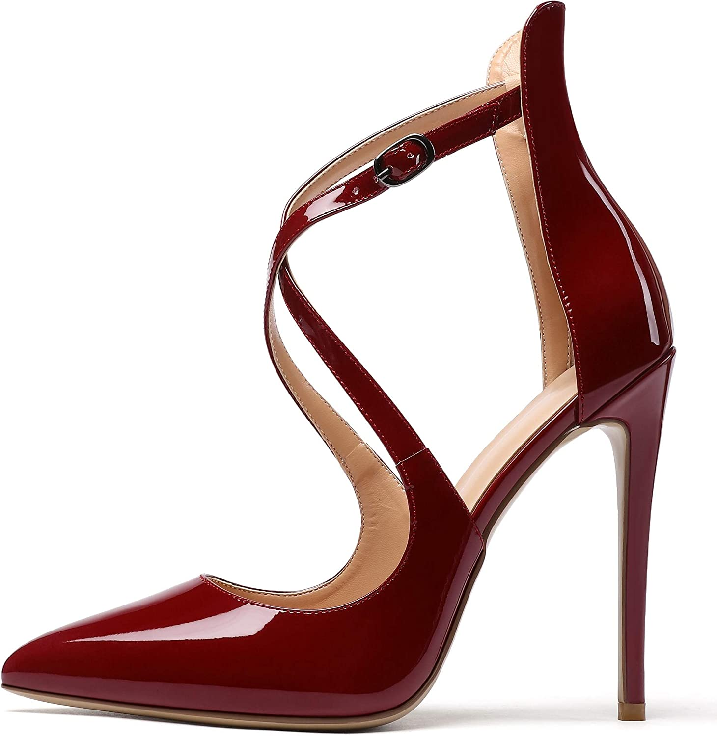 Stiletto High Heel Pointed Toe Pumps Ankle Strap Women Leather Shoe