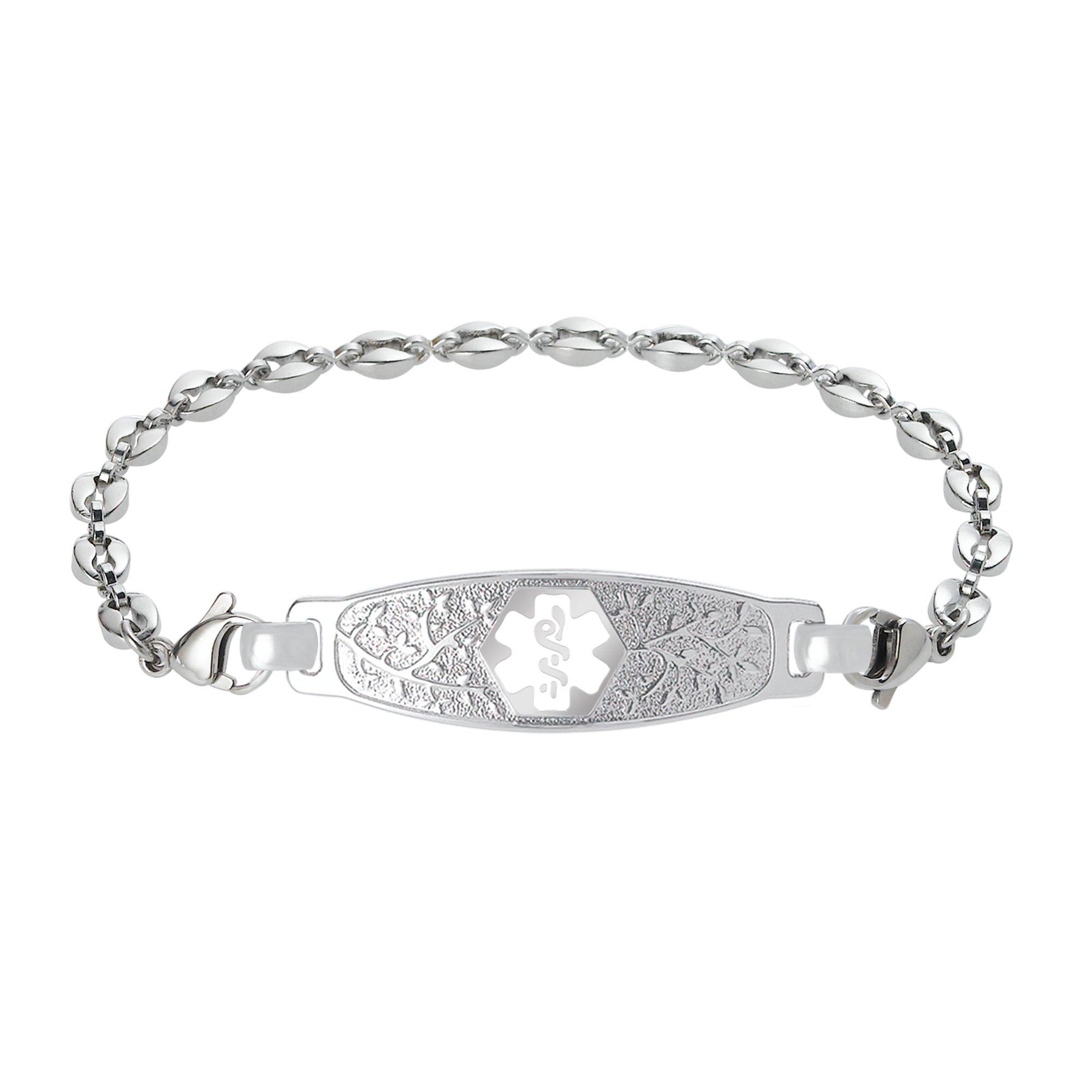 Divoti Custom Engraved Elegant Olive Medical Alert Bracelet -Anchor Stainless -White-6.5''