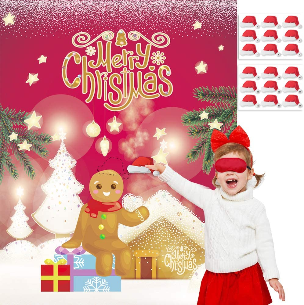 Happy Bebe Christmas Party Pin Games for Kids Pin The Cap on The Gingerbread Man Xmas