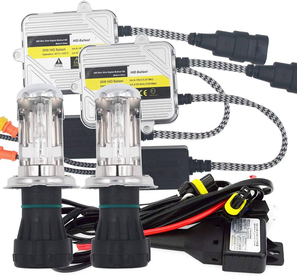 Zantec HID Bi-Xenon Hi//Low Bulb 2pcs 55W H4 HID Bi-Xenon Hi//Low Kit conversione lampadine Faro 3000-12000K Lampadina Ballast 2 6000K 2