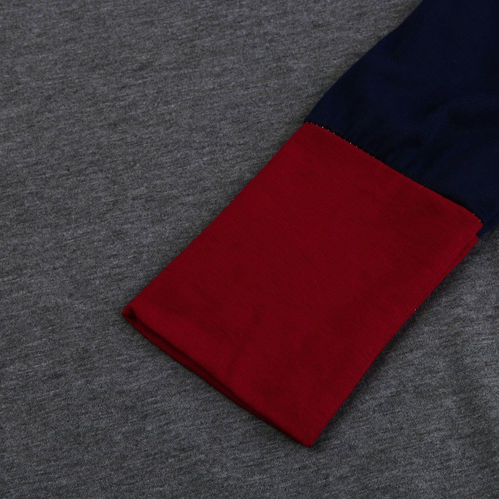 Camisa de Manga Larga para Mujer Moda Blouses Cuello Redondo Casual Bloque de Color Tops con Bolsillo Estampados Camisa de Entrenamiento Camisa Pulóver: ...