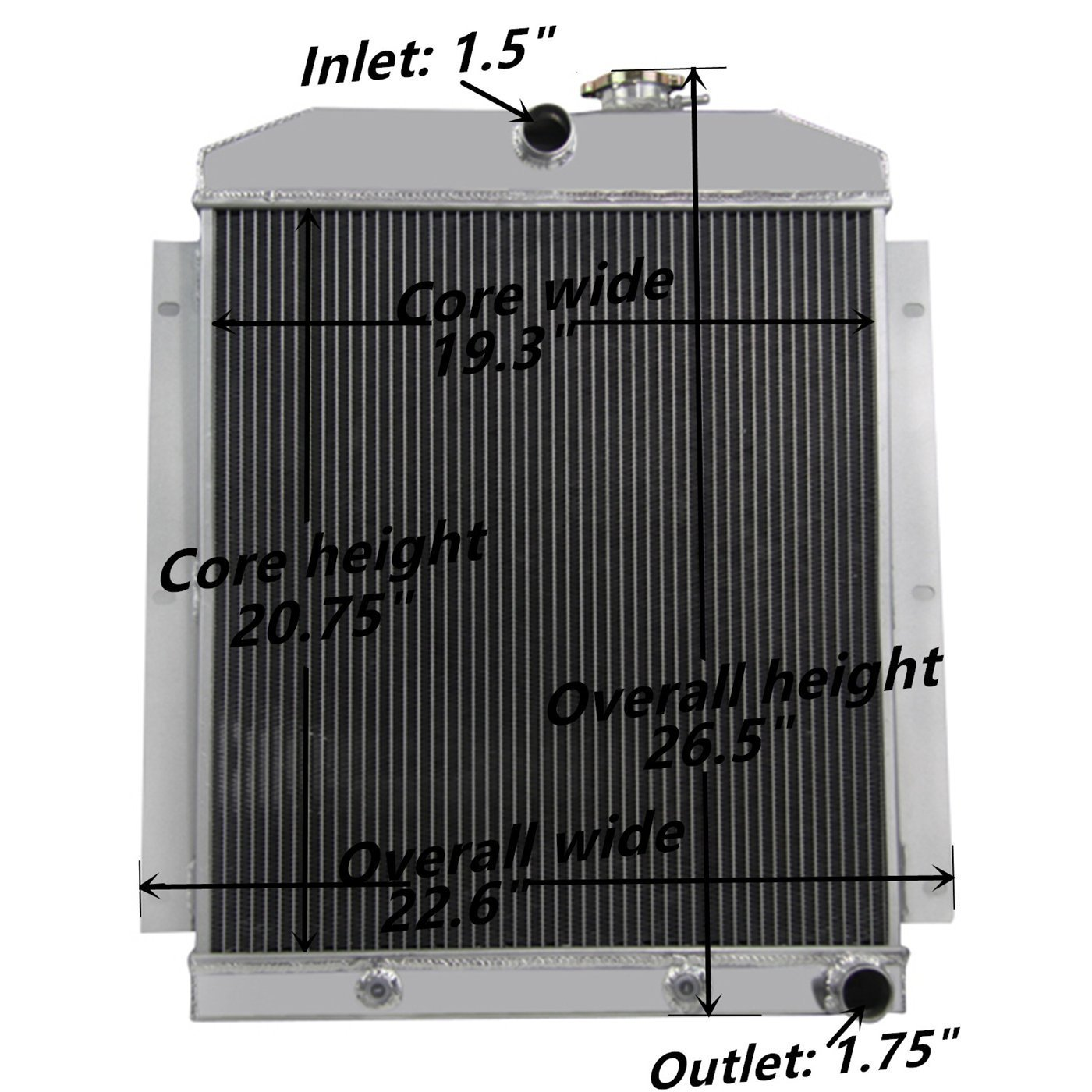 Primecooling 4 Row Core Aluminum Radiator For Chevrolet 1966 Bel Air Trucks Pickup 1947 1954 Fits 6 Cylinders Automotive