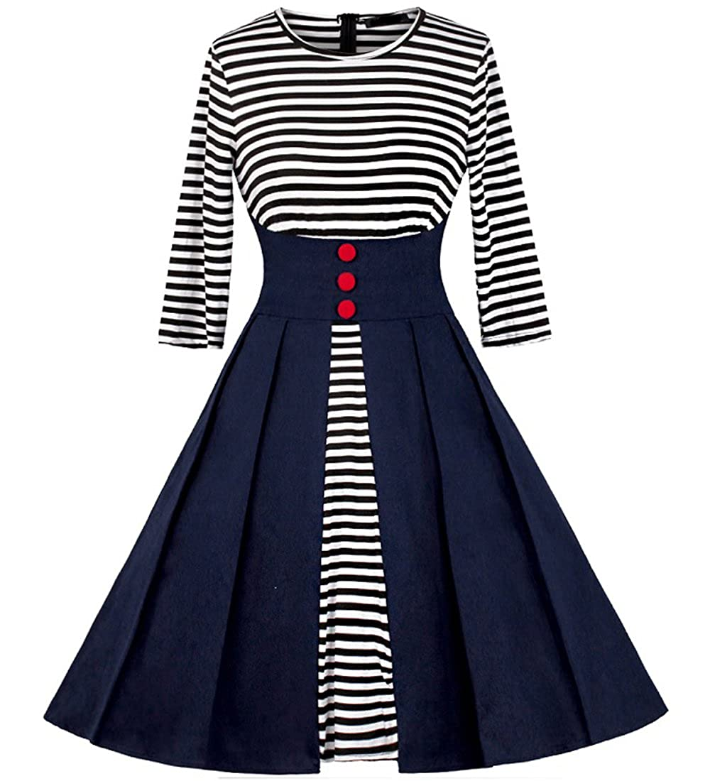 MERRYA Women's Vintage 1950s Style Sailor Stripes Swing Cocktail Dress