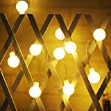 YOZATIA Globe String Lights Battery Operated Warm White Waterproof, 2 Pack 19.7ft 40 LED Globe Fairy String Lights 8…