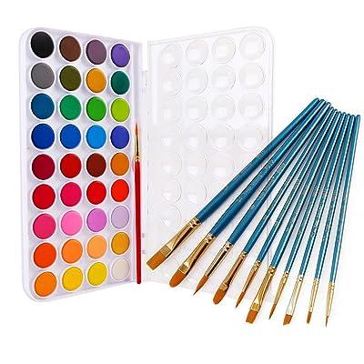 Acuarelas niños,Acuarelas Van gogh,36 Colores Profesionales de la Pintura del Arte de la Acuarela Set + 10 Pinceles para Acrílico Acuarela Pintura Estudiantes Maestros Artistas: Oficina y papelería